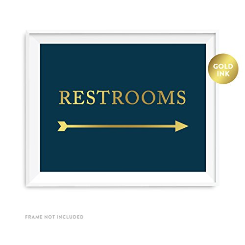 Andaz Press Wedding Party Directional Signs, Navy Blue with Metallic Gold Ink, 8.5x11-inch, Double-Sided, Restrooms with Big Arrow, (Party Directional Sign)