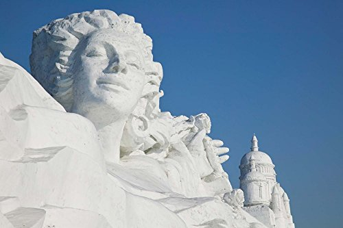 French Themed Snow Sculpture by Frozen Sun Island Lake, Harbin, China by Panoramic Images Art Print, 33 x 22 inches