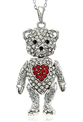 Valentine's Day Teddy Bear Necklace Red Heart Pendant Charm Mother's Day Gifts for Mom