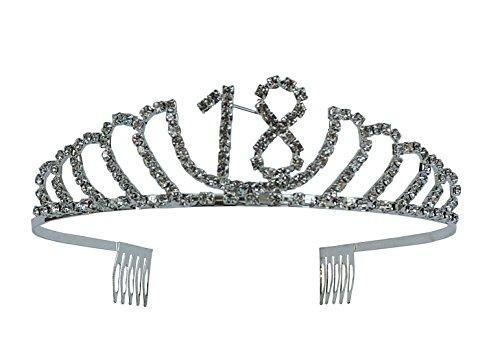 Happy 18th Birthday Rhinestone Tiara - Premium Quality Metal Birthday Accessory (18th ()