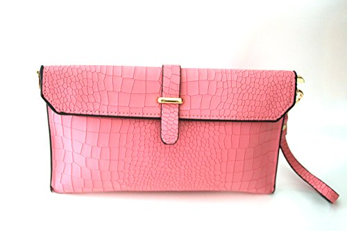 EY Fashion Genuine Leather Croco Embossed Clutch Bag Wristlets (rose) Croco Embossed Clutch