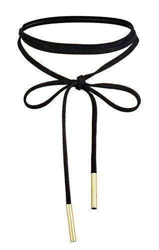 WaMLFac Alloy & Faux Leather Handmade Long Elastic Tassel Necklace, Black, 63-Inch ()