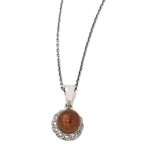 Cheryl M - 925 Sterling Silver Clear CZ & Chocolate Freshwater Cultured Pearl Necklace ()