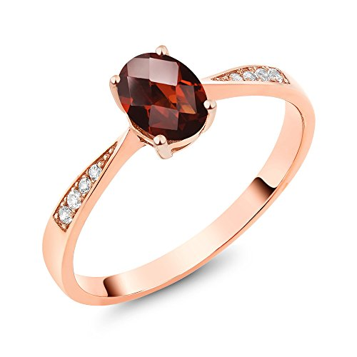 10K Rose Gold Diamond Ring with 0.86 Ct Oval Checkerboard Red Garnet