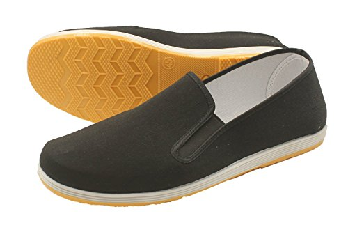 Martial Art Slip on Comfy Rubber Sole Kung Fu Tai Chi Canvas Shoes (US : Men 5 - Women 6)