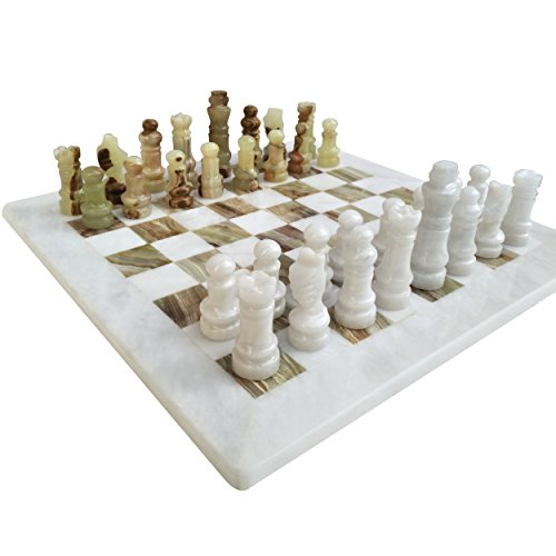(Handmade Staunton White and Green Onyx Marble Chess Board Game Set - Best Board Games for Home Décor Gifts - Suitable For Table Décor - Non Go Board Game - Non Checker Board Game )