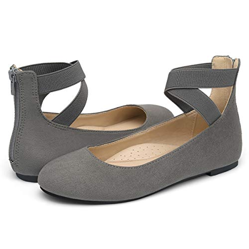 VILIYA Women's Ballet Flats - Elastic Crossing Straps Round Toe Slip-on Shoes Grey 9