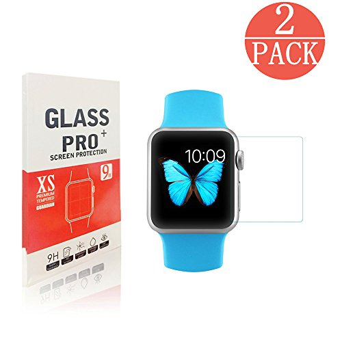 [2-Pack] Apple Watch 38mm Smart Watch Screen Protector,southsunny 9H Hardness, Anti-Scratch, Anti-Fingerprint, Bubble Free[Only Covers the Flat Area]Screen Protector for Apple Watch 38mm