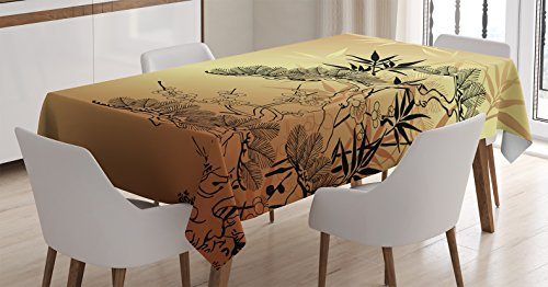 (Ambesonne Japanese Decor Tablecloth, Asian Style Branches and Bamboo Motifs with Showy Fragrant Leaves Nature Illustration, Dining Room Kitchen Rectangular Table Cover, 60 X 90 Inches, Sepia Black)