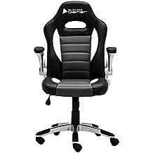 Cadeira Gamer Bluecase Silver BCH-04WGYBK Preto/Branco - Braço Escamoteável, Couro Sintético PU, Base de nylon