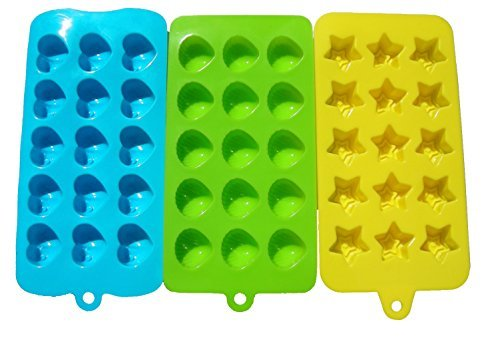 Lepilion Premium Silicone Candy Molds & Ice Cube Trays | FDA Approved Silicone BPA FREE | Chocolate, Candy, Gummy, Jelly, More | Hearts, Stars, Shells Shape (Range Star Review Blue)