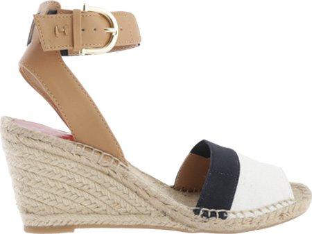 Tommy Hilfiger Women's Hazell Espadrille Sandal, White/Navy, 8 M US