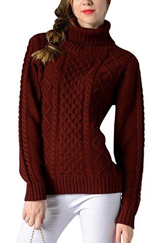 Sophieer Womens Elegant Losse Fit Warm Undershirt Basic Sweater T-shirt Wine Red M