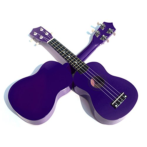 Geek-House Childlike Handmade Wooden 21 Inch Soprano Ukulele Adorable Gift for Kids Girls Beginner Purple With Pick String