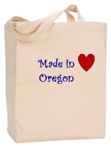 MADE IN OREGON - State Series - Natural Canvas Tote Bag with - Oregon In Bend Shopping