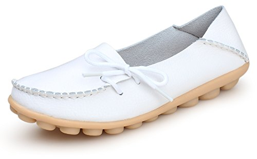 Kunsto Women's Leather Casual Loafer Shoes US Size 9 White
