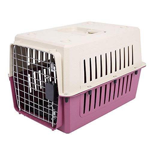 Livebest Portable Plastic Hard-Sided Pet Carrier Crate Outdoor Kennel Car Travel Box Small Animals (S, red)
