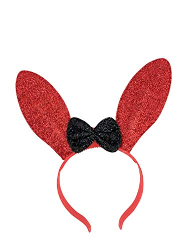 The Electric Mammoth LED Light Up Flashing Sparkly Bunny Ears Headband (Red) -