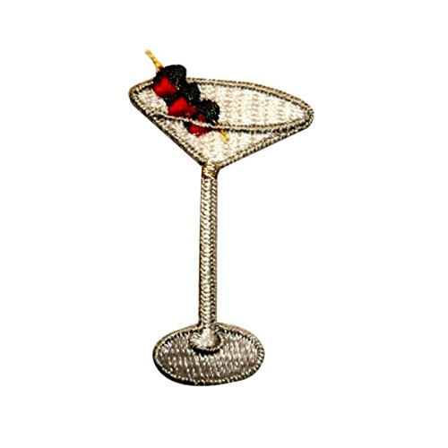 ID 1145 Martini With Olives Patch Cocktail Drink Embroidered Iron On Applique