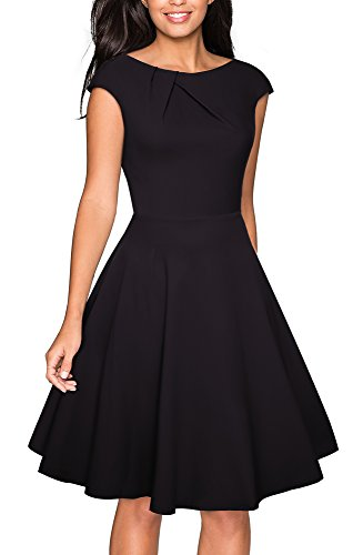 VELJIE Women's Vintage Scoop Neck Casual Party Flare Dress (Black, 12)