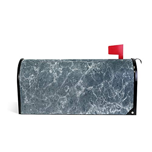 HEOEH Black Marble Gry Blue Magnetic Mailbox Cover Home Garden Decorations Standard Size 20.7 x 18.0 inches]()