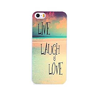 EVERMARKET(TM) Inspirational Quote Beach Live Laugh Love Quote Black Hard Case Cover for Apple iphone 5c