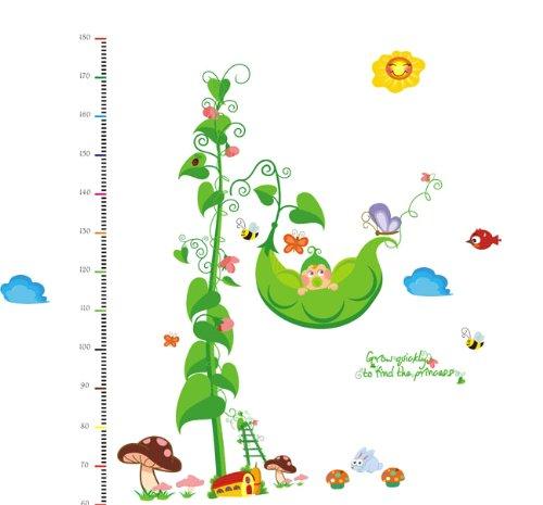 Createforlife Home Decoration Art Vinyl Mural Wall Sticker Decal Grow Height Chart Flower Decal Paper