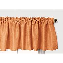 Aiking Home Pure 100% Faux Linen Window Valance - Size 56 inch x 16 inch, Pumpkin