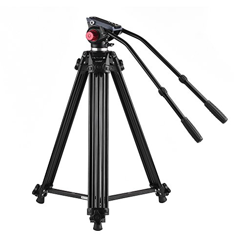Heavy Duty Tripod,Andoer180cm/70inch Professional Aluminum Alloy Video Camera Tripod with Dual Handled Fluid Hydraulic Head for Camera Camcorder, Max Load up to 17.6lbs/8kg by andoer