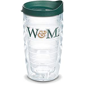 Tervis 1301876 NCAA William & Mary Tribe Green and Gold Wavy Insulated Tumbler with Emblem and Lid 10 oz Clear