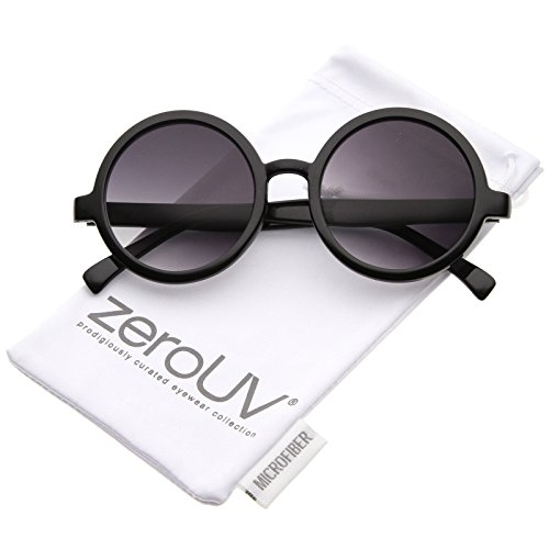 Classic Retro Horn Rimmed Neutral-Colored Lens Round Sunglasses 52mm (Shiny -