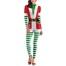 Fixmatti Full Bodysuit Bodycon Jumpsuit Christmas Costume For Women S