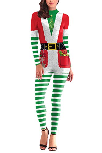 Fixmatti Womens Bodysuit 1PC Adult Easy Costume Idea for Christmas Party L