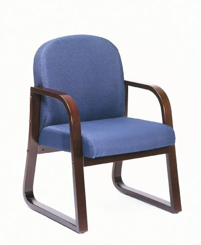 Boss Office Products B9570-BE Mahogany Frame Fabric Side Chair in Blue
