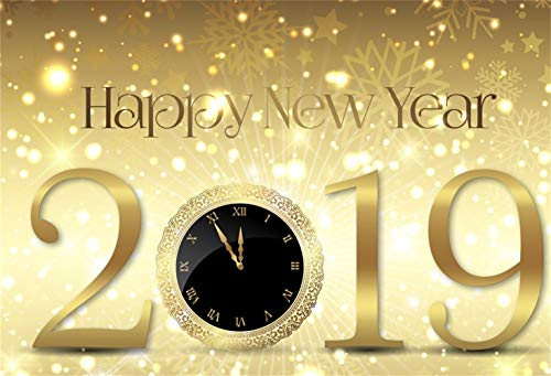 Laeacco Happy New Year 2019 Backdrop Vinyl 5x3ft Splendid Shiny Golden Light Spots Bokeh Haloes Snowflakes Shadow Clock Dial Countdown Photo Background New Year Party Banner Child Baby Adult Shoot ()