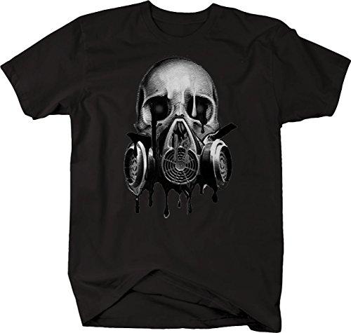 - Bold Imprints Retro - Melting Skull Gas Mask Blood Red Eyes Tshirt - 4XL