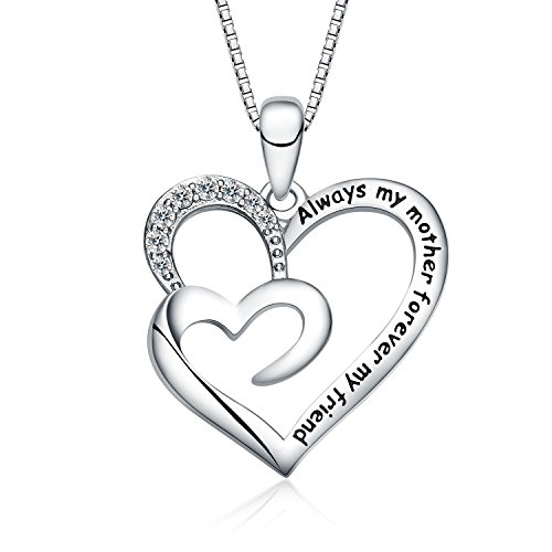 "FANCYCD ""Always My Mother Forever My Friend"" Love Heart Necklace, 18"