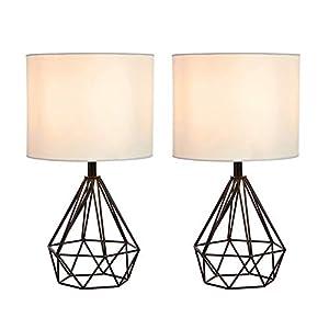 SOTTAE Black Hollowed Out Base Modern Lamp Bedroom Livingroom Beside Geometric Table Lamp, 16″ Desk Lamp With White Fabric Shade(Set of 2)