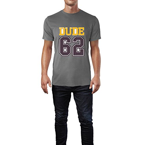 SINUS ART® Dude 62 Sportliches Motiv Herren T-Shirts in Grau Charocoal Fun Shirt mit tollen Aufdruck