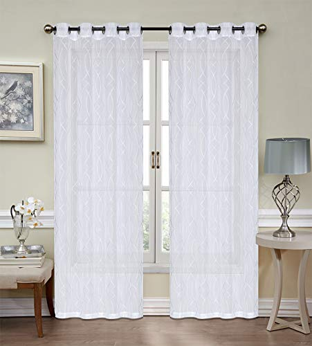Xile Embroidered Sheer Curtain Voile Grommet Sheer Panels Drapes White for Room/Office Sliding Glass Curtains  (Lotus, 54