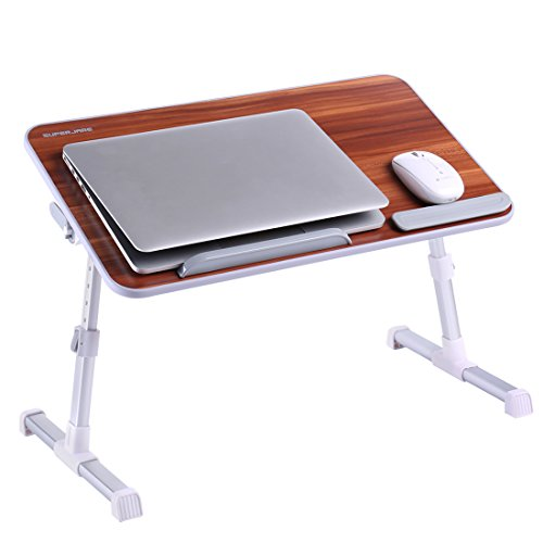 Portable Laptop Table by Superjare | Foldable & Durable Design Stand Desk | Adjustable Angle & Height for Bed Couch Floor | Notebook Holder | Breakfast Tray - American Cherry by SUPERJARE