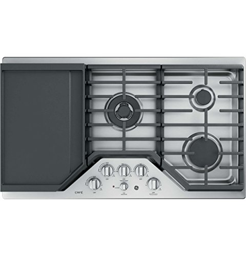 (GE Cafe 36 Inch Gas Cooktop 5 Sealed Burners with Tri-Ring, Simmer, Integrated Griddle, Continuous Grates, LED Backlit Knobs, Stainless Steel)