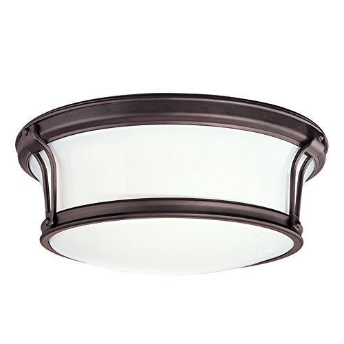 (Newport Flush 3-Light Flush Mount - Old Bronze Finish with Opal Glossy Glass Shade)