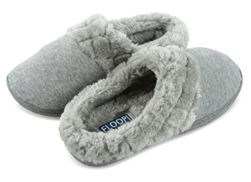 Floopi Womens Indoor Outdoor Soft Velour Quilted Fur Lined Clog Slipper W/Memory Foam (S, Grey-304)