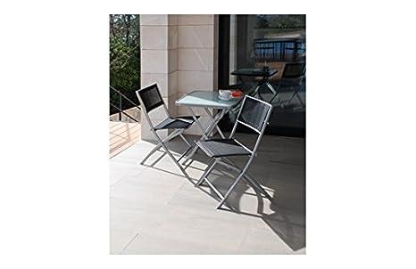 Plicosa M279698 - Mesa acero con 2 sillas plegables blancas ...