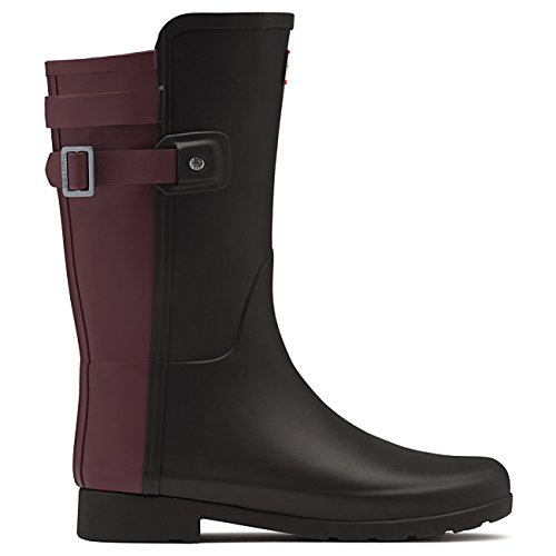 Womens Hunter Original Refined Back Strap Short Wellingtons Rain Boots Black/Dulse CrU8FU