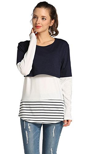 Amazing Speed Women's Breastfeeding Striped Patchwork Maternity Nursing Tops and Blouses (Blue, L) (Amazing Tee)