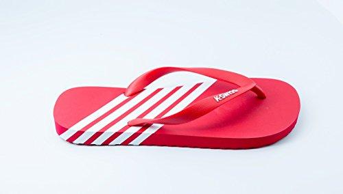 Hombre K-Swiss Iconos K-Flop Zapato Veraniego De rayas Zapato Playa Chanclas Con Tira En Dedo Rojo