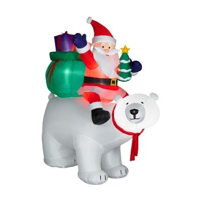 6ft Airblown Santa Sitting on Polar Bear Scene by Gemmy (Image #1)