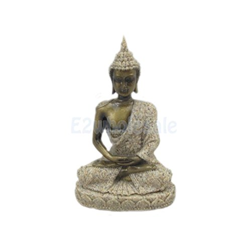 Hand Carved Meditation Buddha Seated Deity Luck Wealth Hindu Statue Decor #1